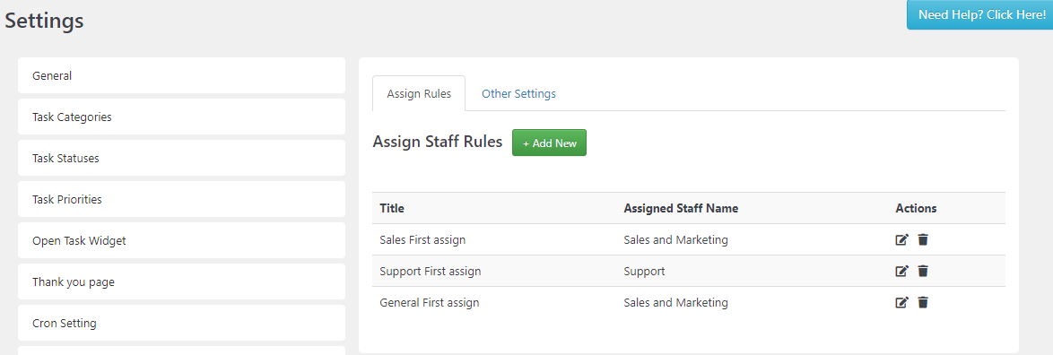 SC Assign Staff Rule