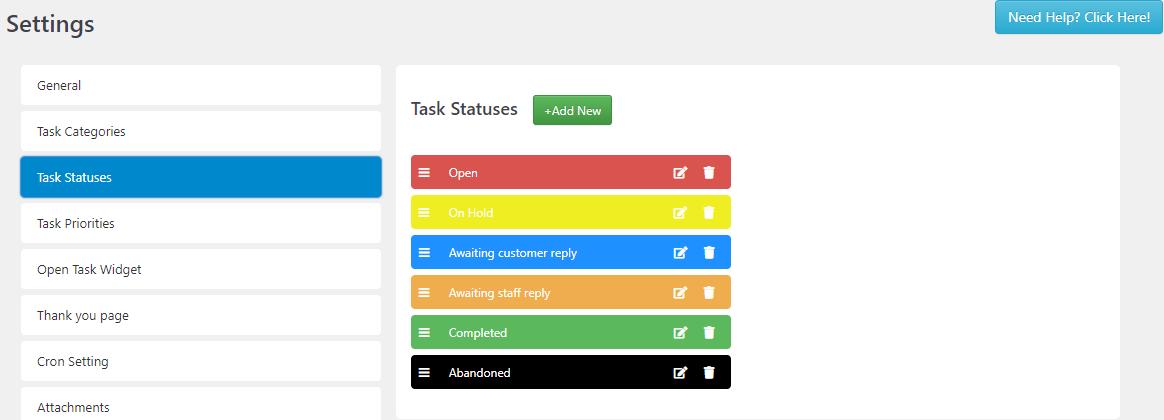 SC Task Statuses