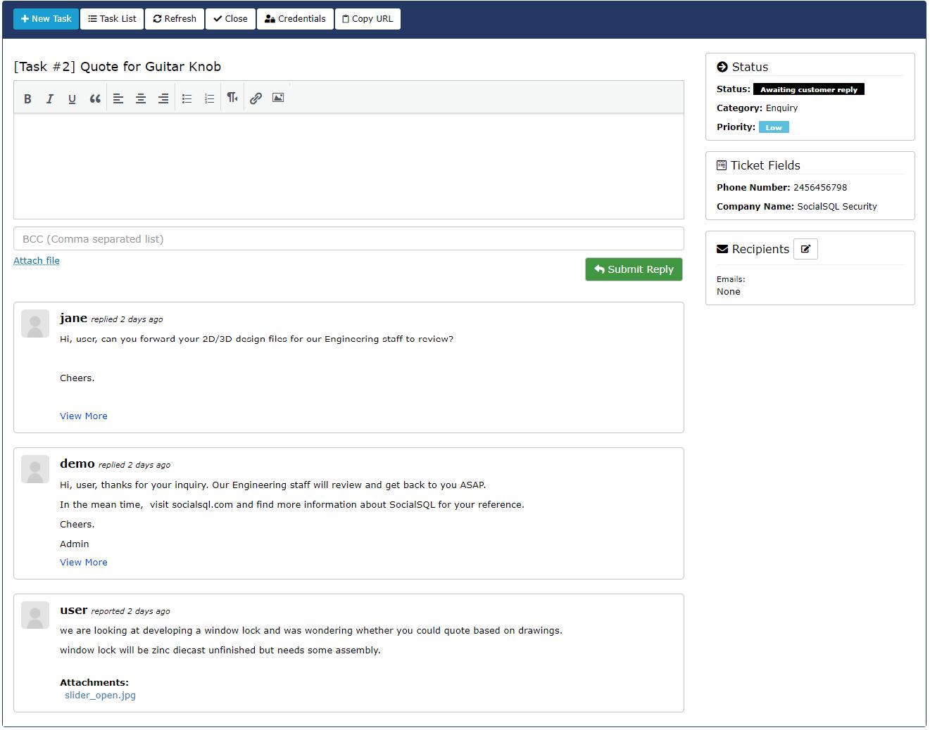 SC User Task Panel